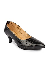 black leatherette mid heels pumps -  online shopping for pumps
