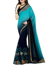 turquoise blue georgette  saree -  online shopping for Sarees