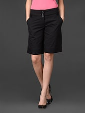 Solid Black Cotton Silk Blend Culottes - 335th