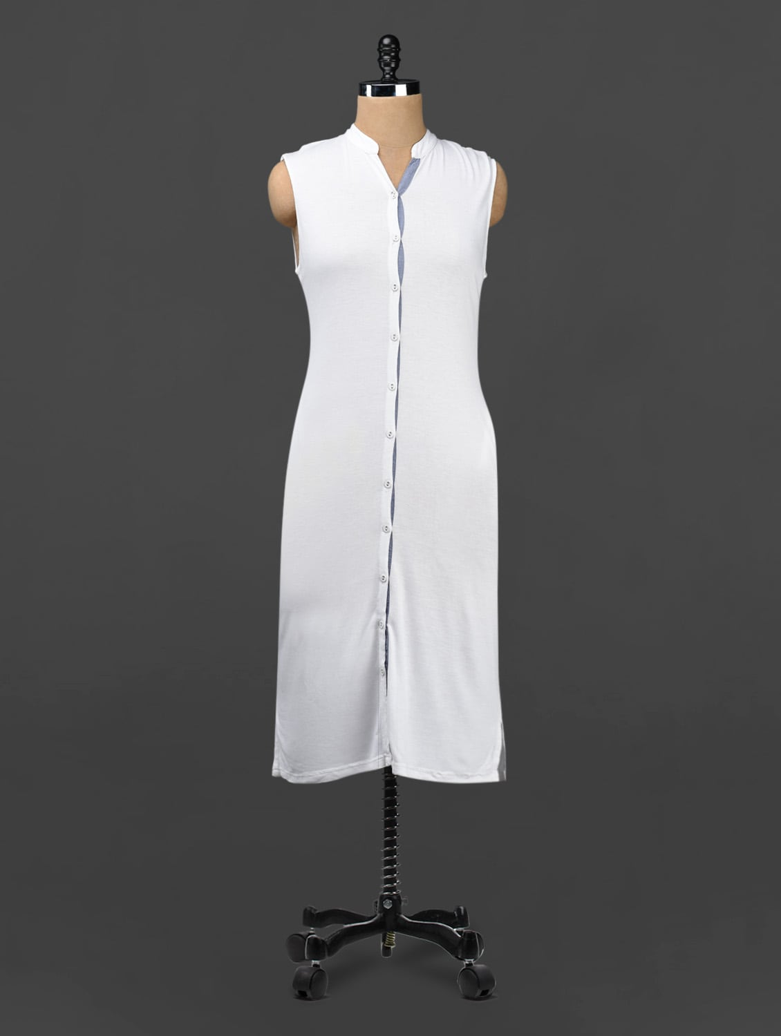 Sleeveless Mandarin Collar Dress - 335th