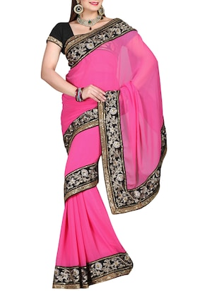 ISHIN Chiffon Pink Embroidered Party Wear Fancy Lace Saree