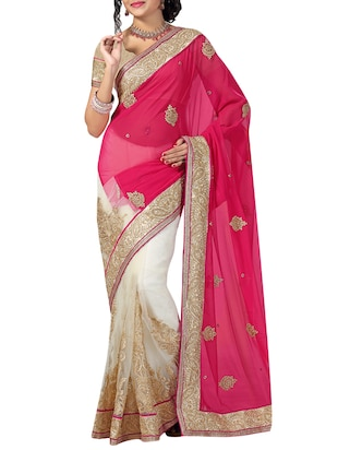 Ishin Pink and White Embroidered Sari