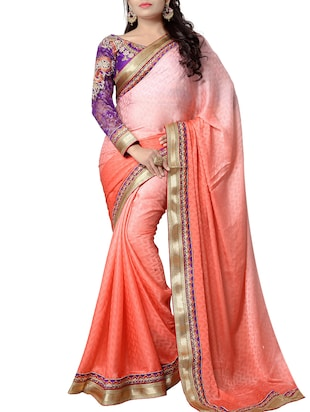 ISHIN Satin Jacquard Pink Embroidered Party Wear Fancy Lace Saree