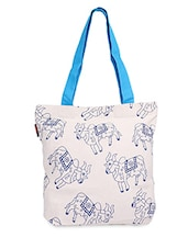 White Holy Cow Print Canvas Tote Bag - ORANGEHEART