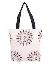 White Warli Print Canvas Tote Bag - ORANGEHEART