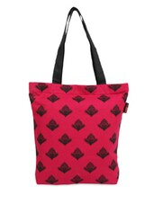 Fuchsia Motif Print Canvas Tote Bag - ORANGEHEART