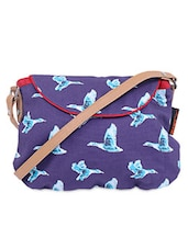 Flying Duck Print Canvas Sling Bag -  online shopping for sling bags