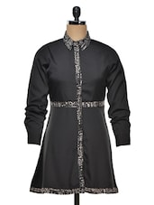 Polyester Black Tunic Dress - Colbrii