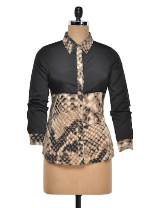 Animal Print Polyester Shirt