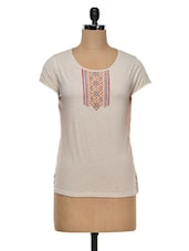 Asymmetric Cotton Knit Embroidered Top - Colbrii