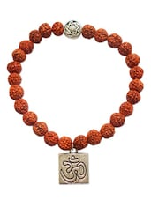 Rudraksha Bracelets Om Charm 5 Faced 5 Mukhi Small Rare Original Rudraksh Jewellery Beautiful Alloy Om Charm Bracelets For Men A - By