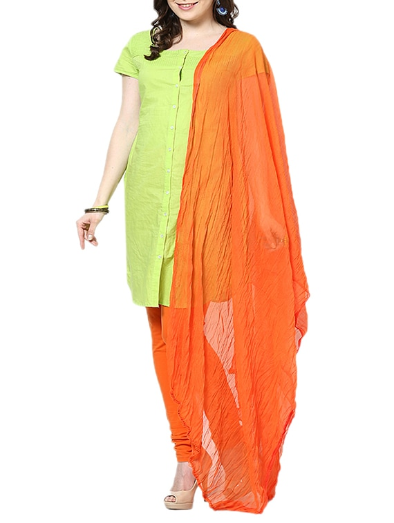 Dark Orange Chiffon Plain  Dupatta - By