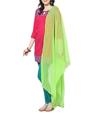 Light Green Chiffon Plain  Dupatta - By