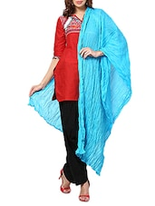 Sky Blue Cotton Plain  Dupatta - By