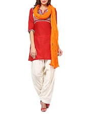 Dark Orange Cotton Plain  Dupatta - By