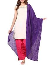 Dark Purple Cotton Plain  Dupatta - By