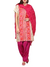Dark Pink Cotton Plain  Dupatta - By