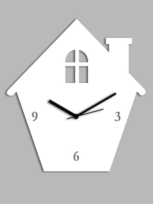 white Home shaped wall clock