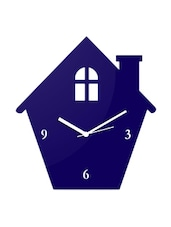 Blue Home Shaped Wall Clock - Creative Width Decor