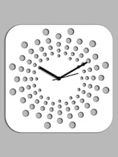White Polka Dot Squircle Wall Clock - Creative Width Decor