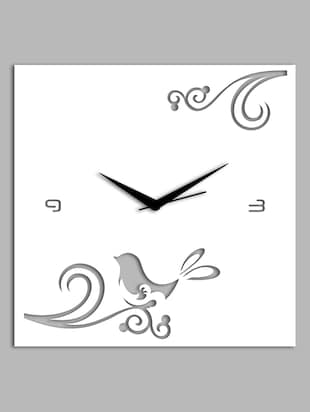 white Filigree square wall clock