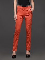 Orange Slim Fit Formal Trouser - Kaaryah