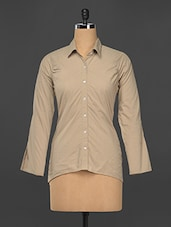 Beige High Low Cotton Shirt - Kaaryah