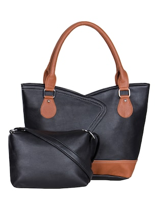 black leatherette handbag with pouch