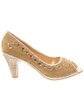Crystal Embellished Bling Peep Toe Pumps - Delco