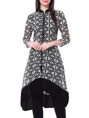 black, white georgette kurta