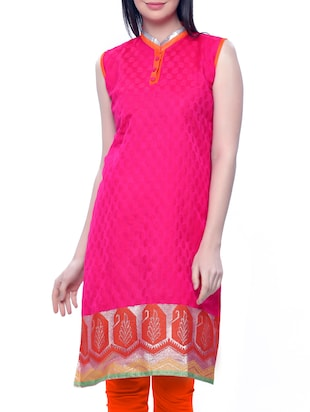 pink silk straight kurta