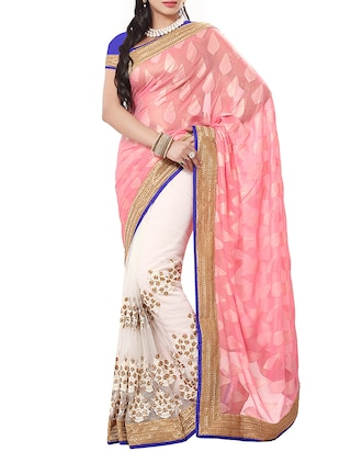 Ishin Pink and Cream Embroidered Georgette Sari