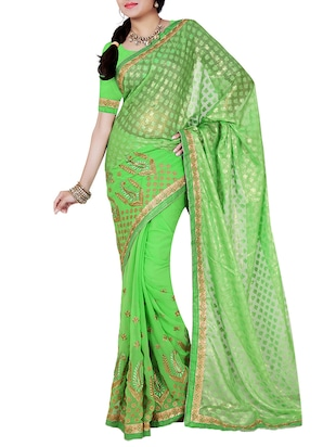 ISHIN Brasso Georgette Green Embellished Zari Resham Work & Half Half Party Wear fancy Lace Saree