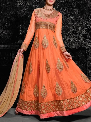 orange net semistitched suit