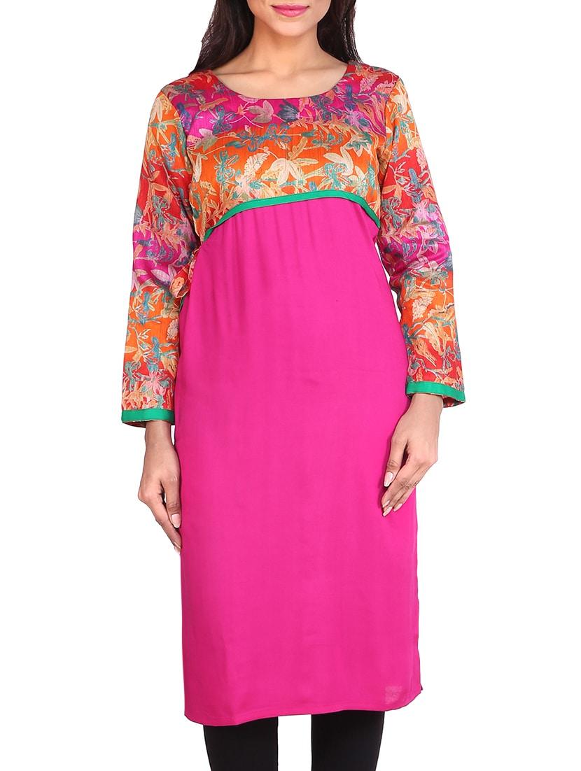 Festive Chanderi |  Pink rayon, georgette long kurta By Limeroad @ Rs.753