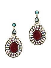 Red Stone & Multicolour Crystals Earrings - JEWELIZER