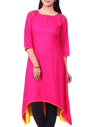 pink rayon high-low kurta