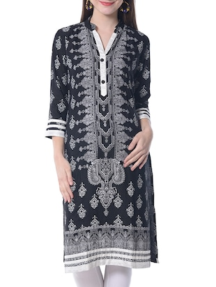 black rayon straight kurta