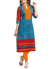 Blue & Red Cotton Self Printed Unstitched Kurta - By
