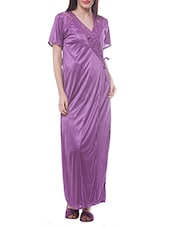 Purple Satin Lace Night Robe -  online shopping for nightwear