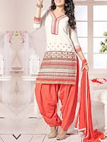 white, coral cotton patiyala suits dress material -  online shopping for Dress Material