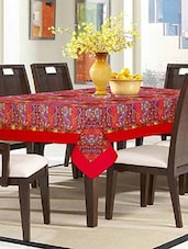 Lushomes Digital Printed Maroon Themed Table Cloth For 6 Seater - By