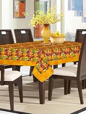 Lushomes Digital Printed Yellow Themed Table Cloth For 6 Seater - By
