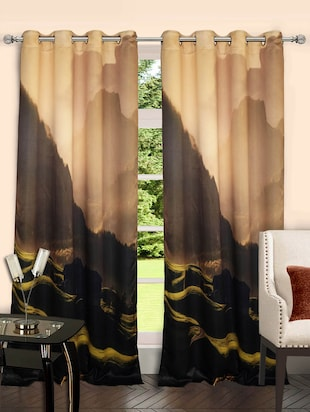 Lushomes  Mountain Polyster Blackout Curtains with 8 Metal Eyelets for Doors