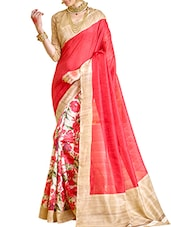 red,beige bhagalpuri silk printed saree -  online shopping for Sarees
