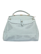 Sophisticated Ice Blue Cutwork Mesh Handbag - Diana Korr