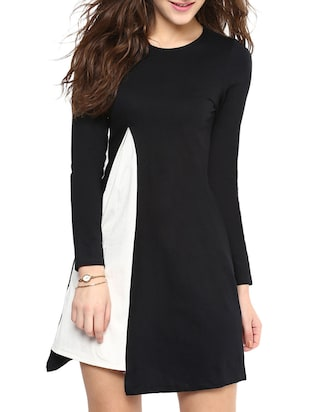 Black Solid Full Sleeve A-line Dress