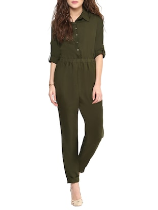 Green Solid Collared  Jumpsuit