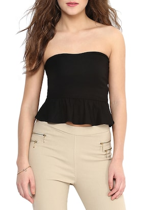 Black Strapless Shaped Tube Top