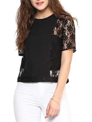 Black Solid Sleeve Lacy Top